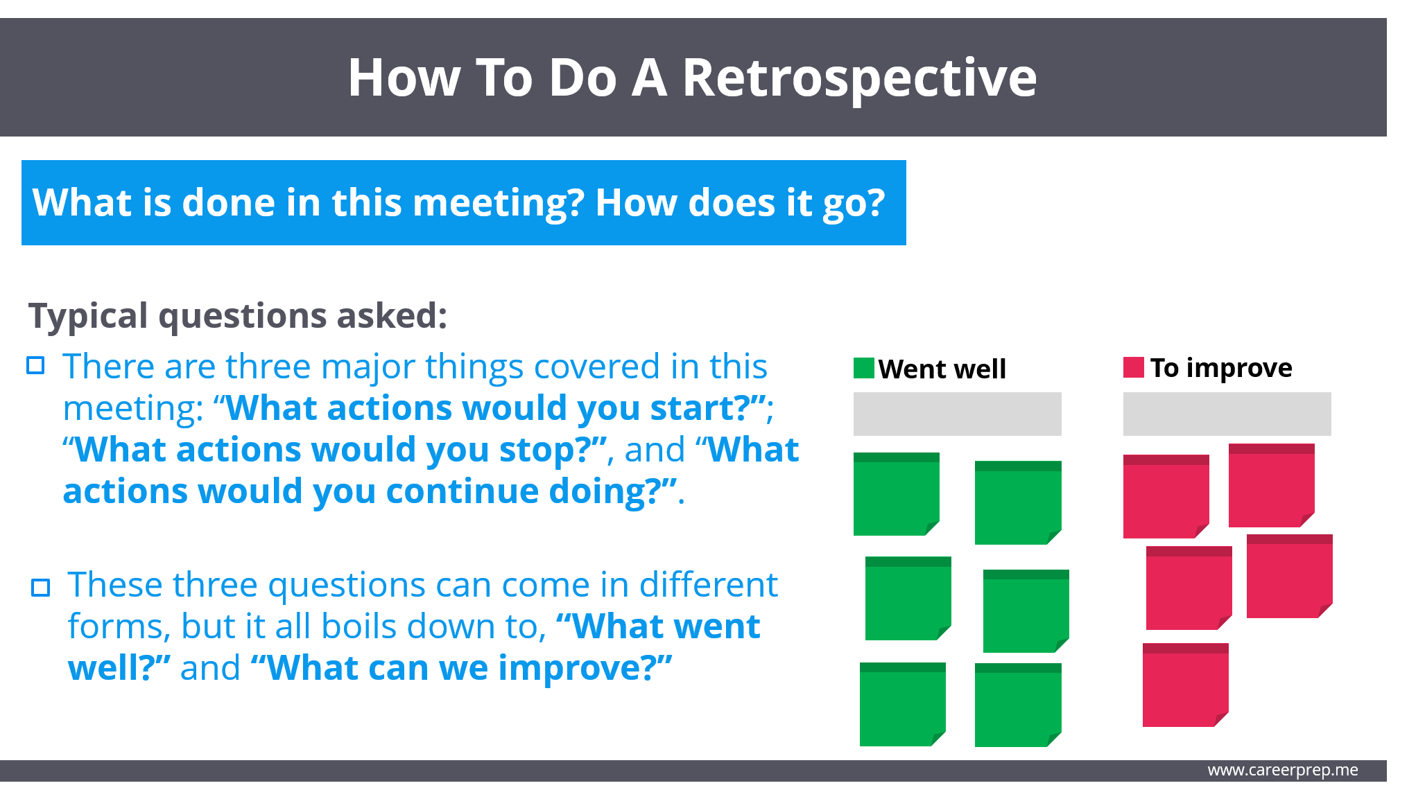 How to do a retrospective - what went well and what to improve columns