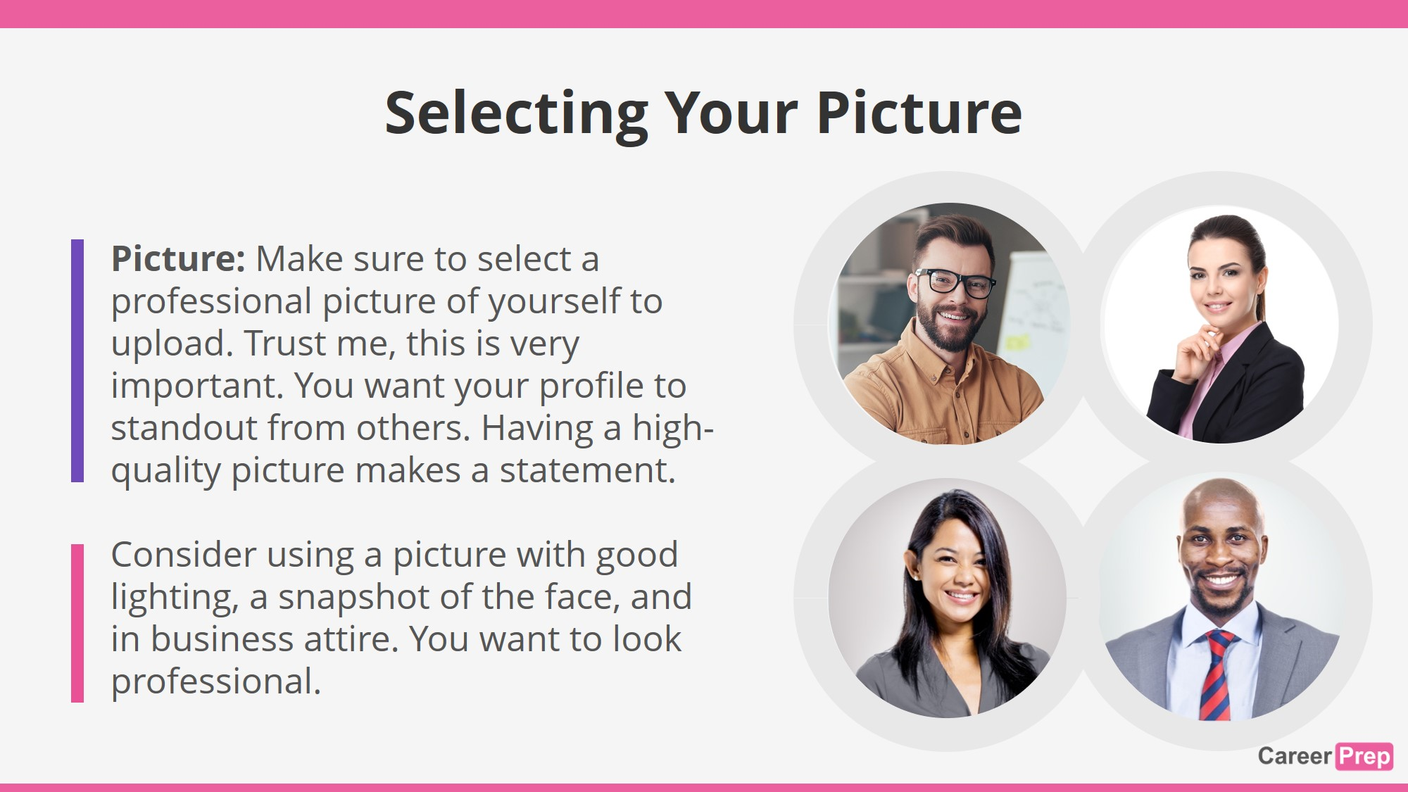 selecting a picture for your linkedin profile