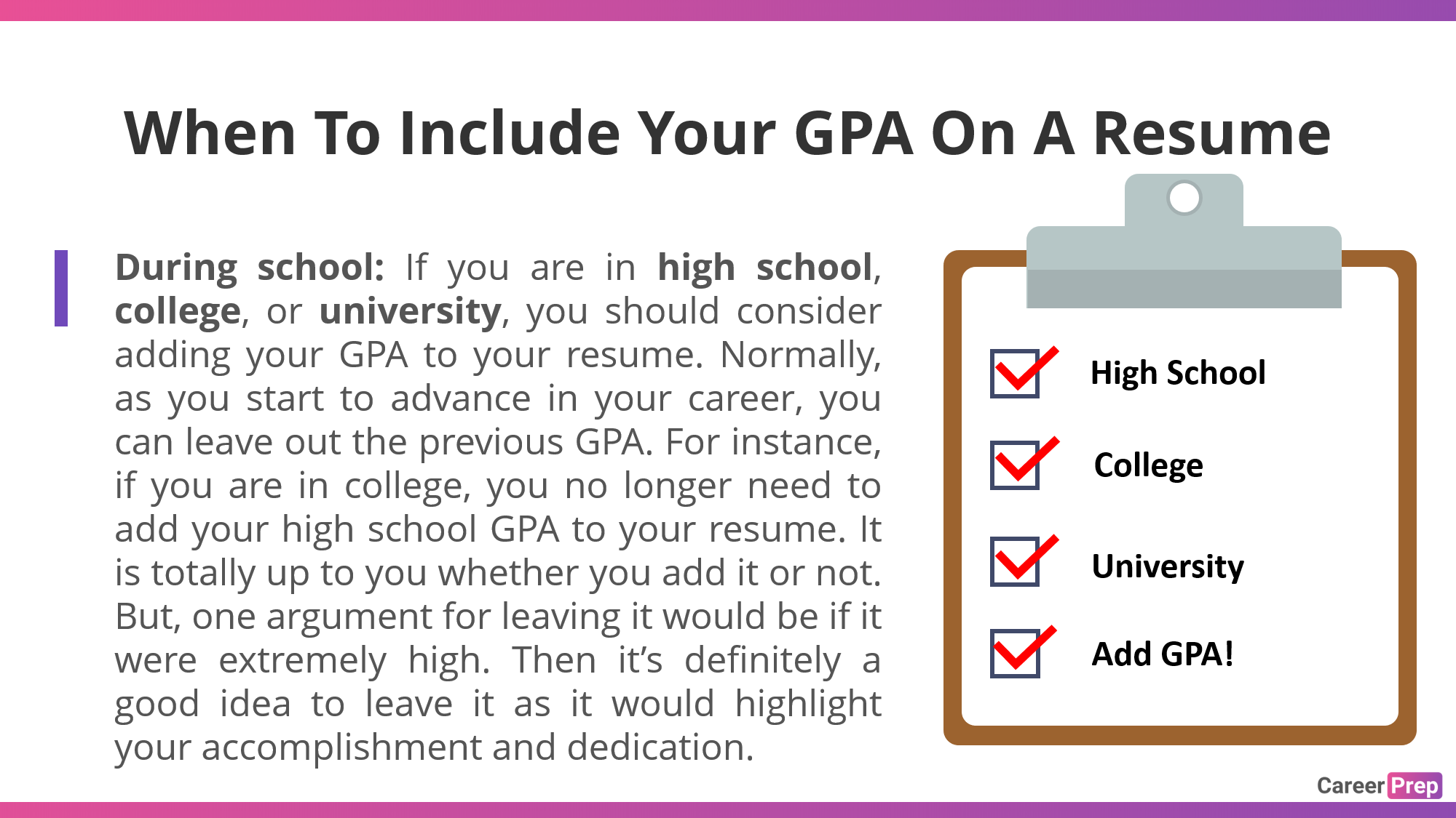 When to include your GPA on a resume