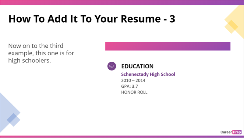 how to add your high school gpa to a resume