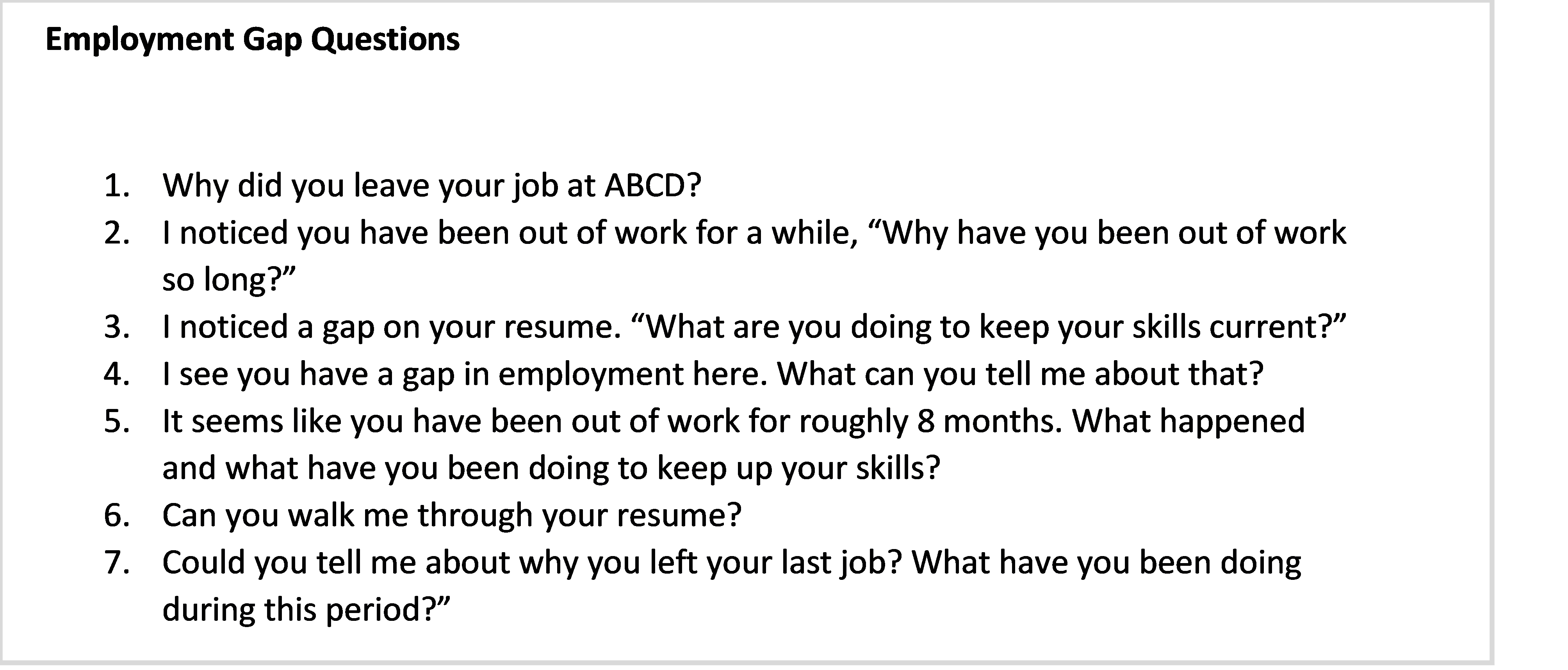 employment gap questions used by recruiters