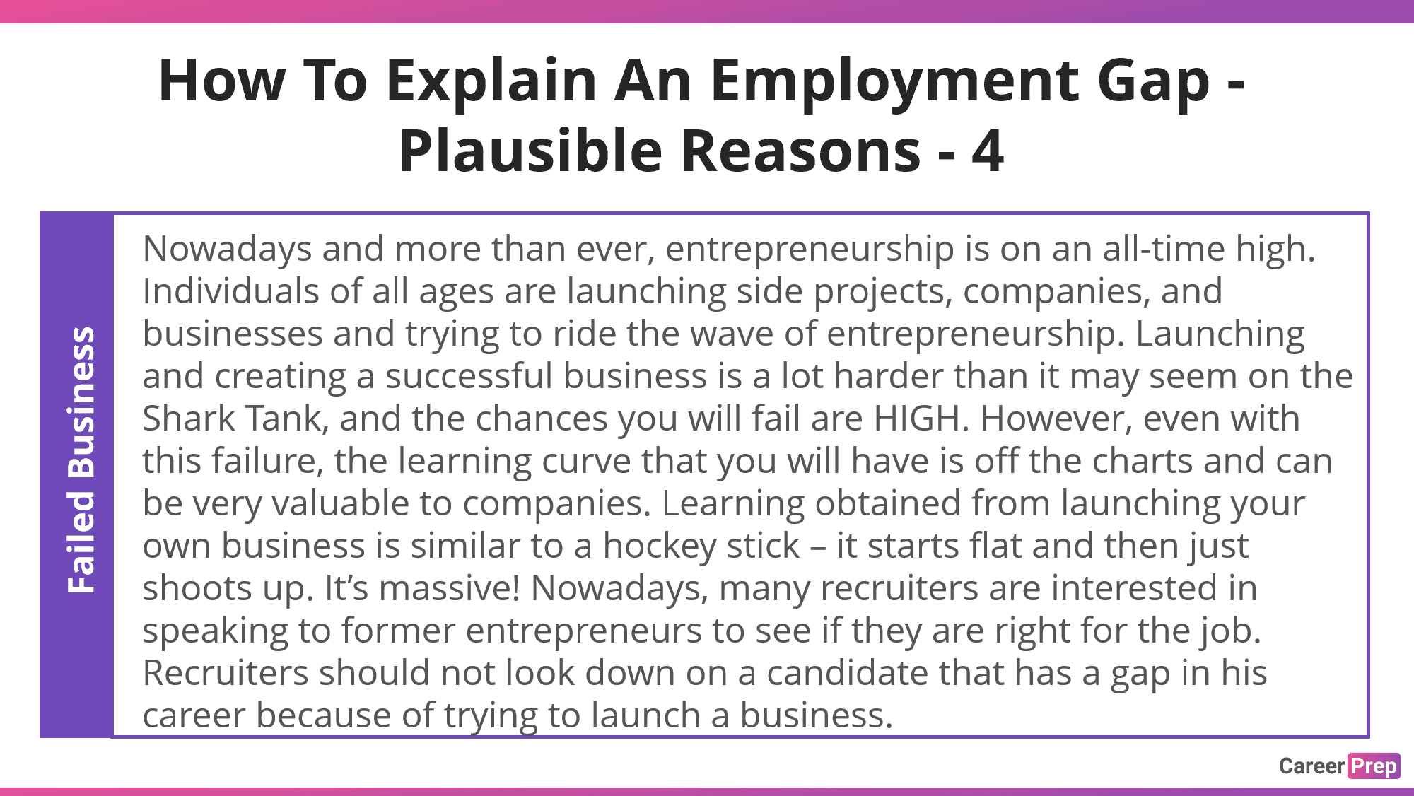 explain employment gap with a failed business attempt